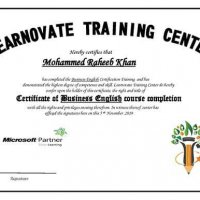 Raheeb certificate Learnovate Training Center